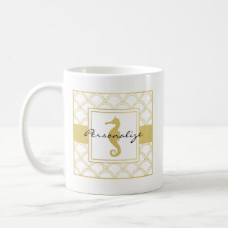 Seahorse Faux Gold Retro Nautical Pattern Modern Coffee Mug