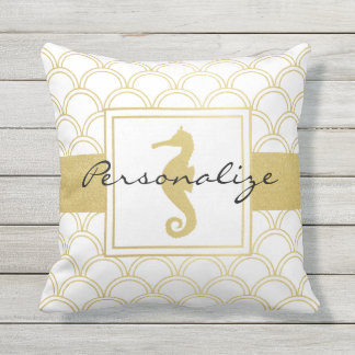 Seahorse Faux Gold Retro Nautical Pattern Outdoor Outdoor Cushion