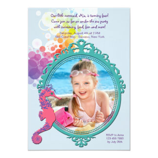 Seahorse Frame Photo Birthday Party Invitation