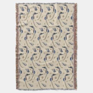 Seahorse Frenzy Throw Blanket (Cream)
