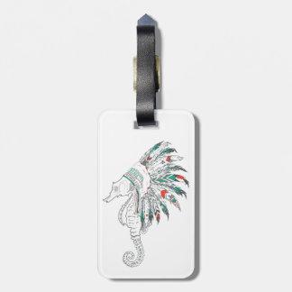 seahorse headdress luggage tag