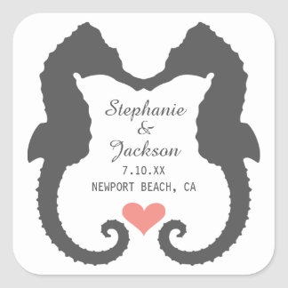 Seahorse Heart Square Sticker