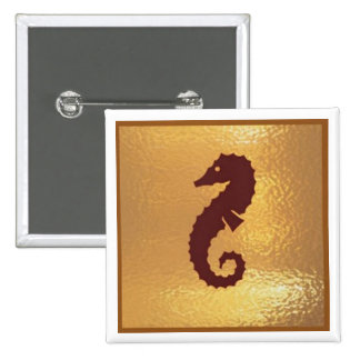 Seahorse horse starfish - Medal Icon Gold Base Buttons