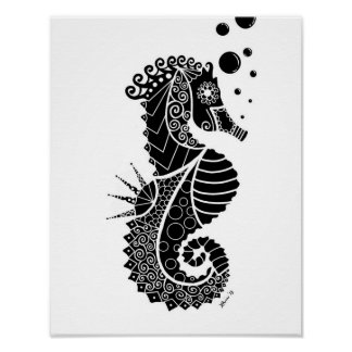 Seahorse Illustration Poster