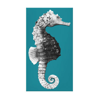 Seahorse in black and white pattern canvas print