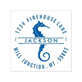 Seahorse In Circle Self-Ink Return Address Stamp