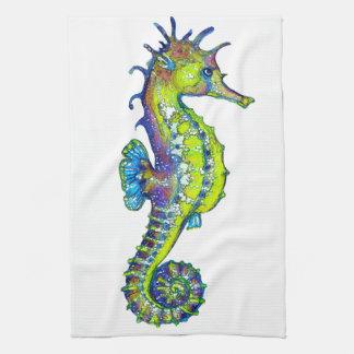 Seahorse Inky Lime Tea Towel