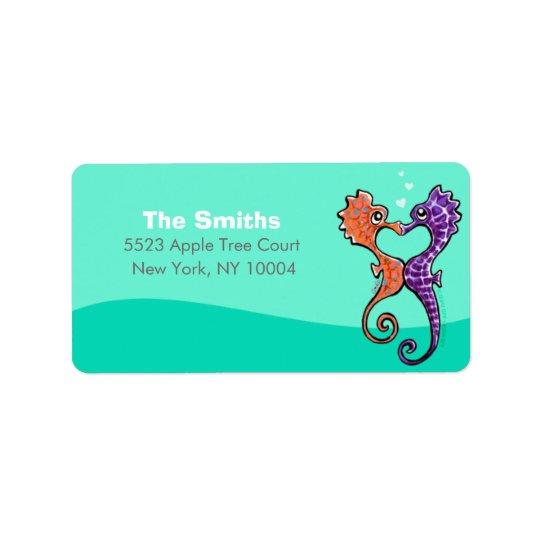 Seahorse Kiss Off-Leash Art™ Personalised Label
