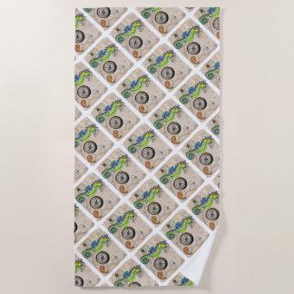 Seahorse Lime Green Compass Beach Towel