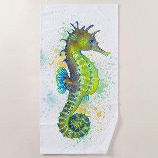 Seahorse Lime Green Yellow Watecolor Beach Towel