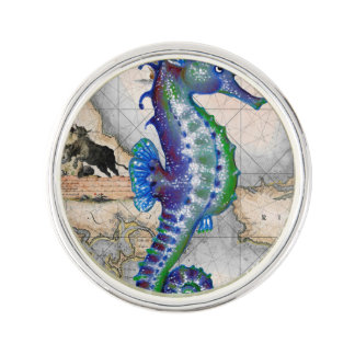 Seahorse Map Gibraltar Lapel Pin