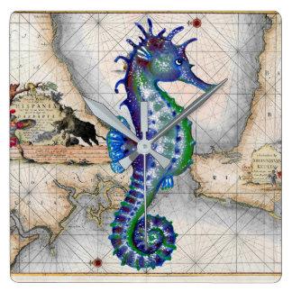 Seahorse Map Gibraltar Square Wall Clock
