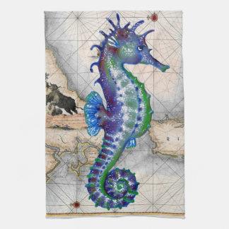 Seahorse Map Gibraltar Tea Towel