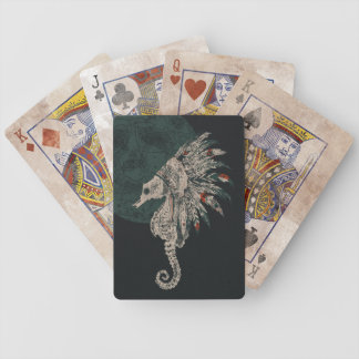 seahorse native night bicycle playing cards