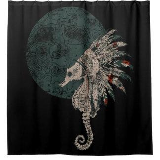 seahorse native night shower curtain