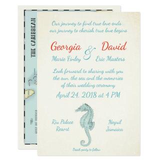 Seahorse Nautical Destination wedding invitation