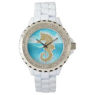 Seahorse Nautical Themed Gold and Blue Watch