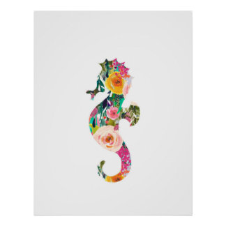 Seahorse nautical wall print nursery art