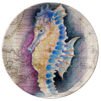Seahorse old map plate
