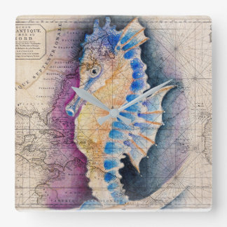 Seahorse old map square wall clock