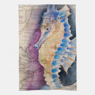 Seahorse old map tea towel