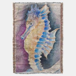 Seahorse old map throw blanket