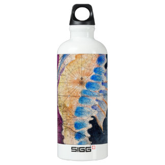 Seahorse old map water bottle