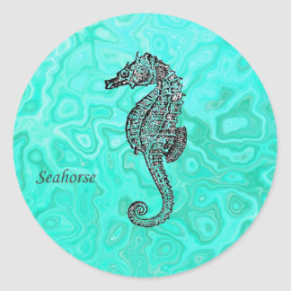 Seahorse on Aqua Splash Turquoise Marble Pattern Classic Round Sticker