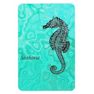 Seahorse on Aqua Splash Turquoise Marble Pattern Magnet