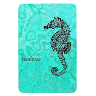 Seahorse on Aqua Splash Turquoise Marble Pattern Rectangular Photo Magnet