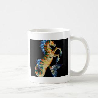 seahorse on black coffee mug