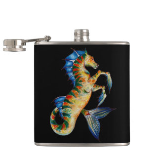 seahorse on black hip flask
