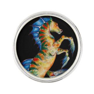 seahorse on black lapel pin