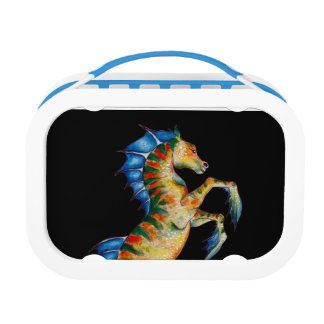 seahorse on black lunch box