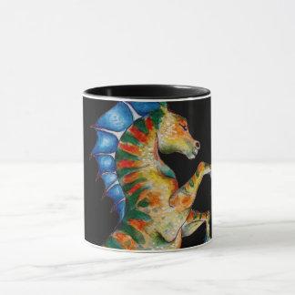 seahorse on black mug