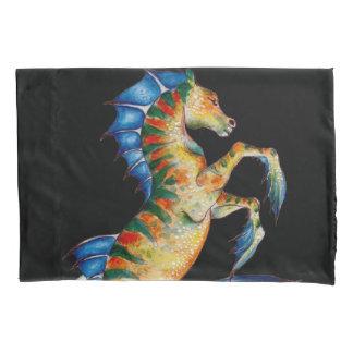 seahorse on black pillowcase