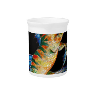 seahorse on black pitcher