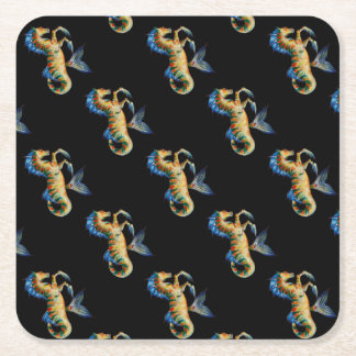 seahorse on black square paper coaster