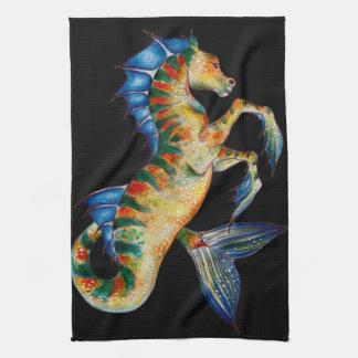 seahorse on black tea towel