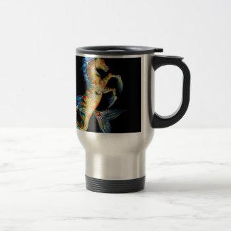 seahorse on black travel mug