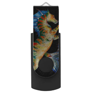seahorse on black USB flash drive