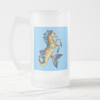 Seahorse On Blue Frosted Glass Beer Mug