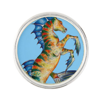 Seahorse On Blue Lapel Pin