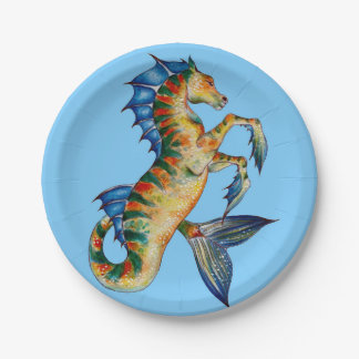 Seahorse On Blue Paper Plate