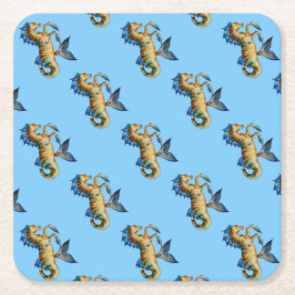 Seahorse On Blue Square Paper Coaster