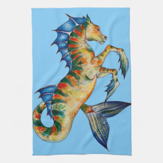 Seahorse On Blue Tea Towel