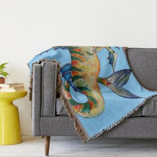 Seahorse On Blue Throw Blanket