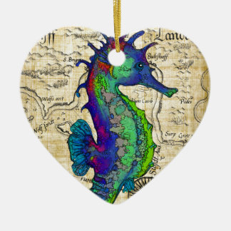 seahorse papyrus map ceramic heart decoration