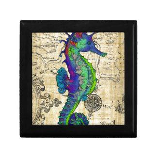 seahorse papyrus map small square gift box