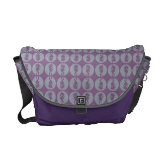 Seahorse Pattern in Gray and Purple Messenger Bags
